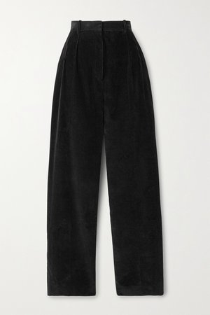 Black Chandler cotton-corduroy straight-leg pants | The Row | NET-A-PORTER