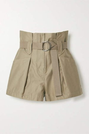 Bordina Belted Pleated Cotton-twill Shorts - Army green