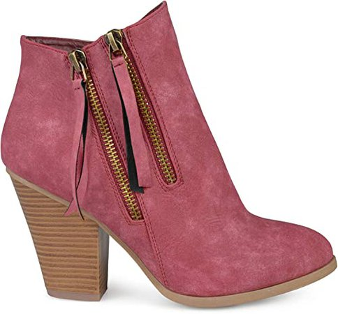 Amazon.com   Brinley Co. Womens Faux Leather Stacked Wood Heel Double Zipper Booties Brown, 9 Regular US   Ankle & Bootie