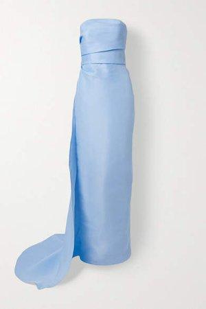Strapless Draped Silk-gazar Gown - Light blue