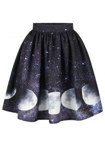 Starry Sky and Moon Print Galaxy Skirt
