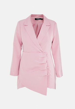 Plus Size Blush Ruched Side Blazer Dress | Missguided