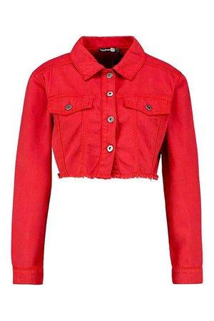 Boohoo Red Crop Denim Jacket