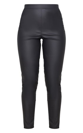 Black Matte Faux Leather Legging   Trousers   PrettyLittleThing