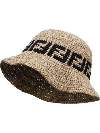 Shop Fendi FF motif crochet-design hat with Express Delivery - FARFETCH