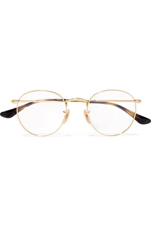 Ray-Ban | Round-frame gold-tone optical glasses | NET-A-PORTER.COM