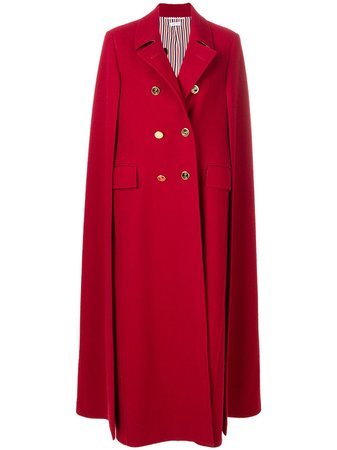 Thom Browne High-Button Pintuck Double-Breasted Cape In Pilot Cloth Melton Ss19 | Farfetch.Com