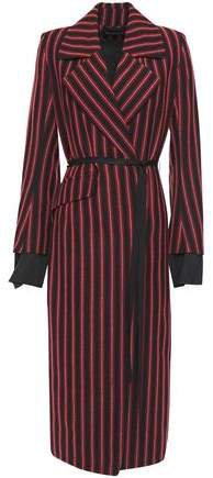 Belted Striped Wool And Cotton-blend Coat
