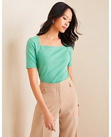 Square Neck Luxe Tee   Ann Taylor
