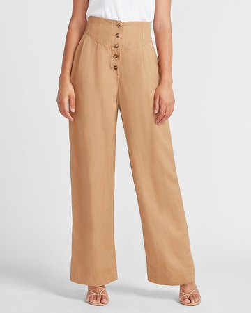 Super High Waisted Linen-Blend Button Fly Wide Leg Pant