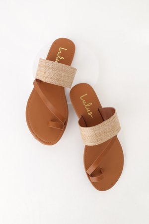 Cute Natural Tan Sandals - Flat Sandals - Woven Sandals