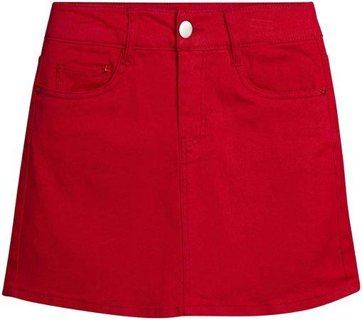 dollhouse Women's Skirt - Denim Jeans Mini Skirt, Size 7, Red at Amazon Women's Clothing store