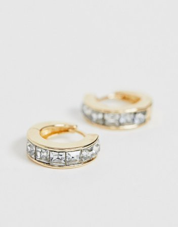 ASOS DESIGN small hoop earrings with crystal in gold tone | ASOS