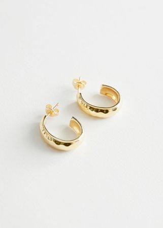 Hammered Open Hoop Earrings - Gold - Hoops - & Other Stories