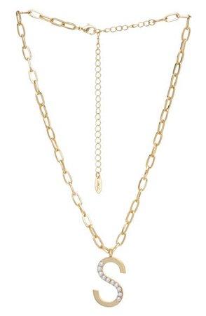 Ettika Imitation Pearl Initial Pendant Necklace | Nordstrom