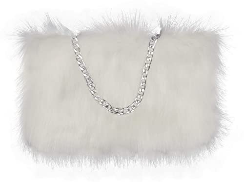 FHQHTH Faux Fur Purse Fuzzy Handbags for Women Evening Handbags Al alloy Shoulder Strap [Black]: Handbags: Amazon.com