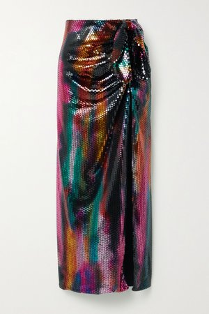 Black Bow-detailed sequined satin maxi skirt | The Attico | NET-A-PORTER