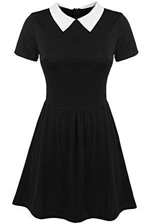 black peter pan collar dress