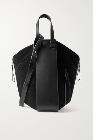 Hammock Large Paneled Leather And Suede Tote - Black