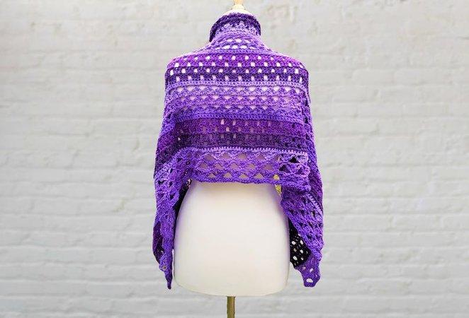 Purple crochet shawl | Etsy