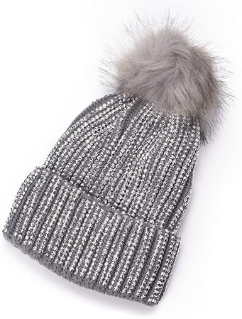 Lawliet Womens Faux Fur Pom Pom Beanie Ski Hat Cap Slouchy Knit Warm A469 (Gray) at Amazon Women's Clothing store