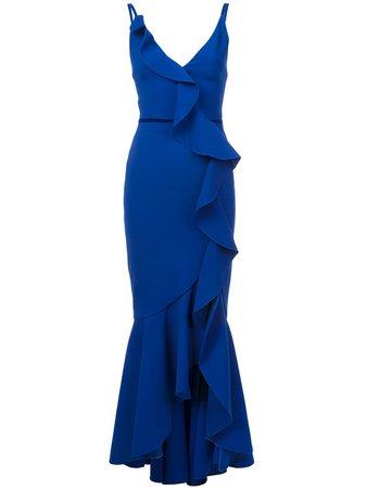 Marchesa Notte V-neck crepe gown - FARFETCH