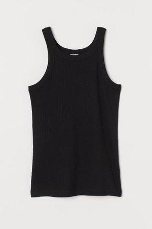 Ribbed Tank Top - Black - Ladies | H&M US