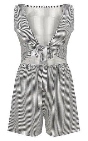 Monochrome Stripe Sleeveless Front Tie Playsuit   PrettyLittleThing