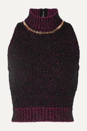 Versace | Cropped embellished metallic bouclé sweater | NET-A-PORTER.COM