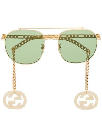 Gucci Eyewear GG Chain aviator-frame Sunglasses - Farfetch