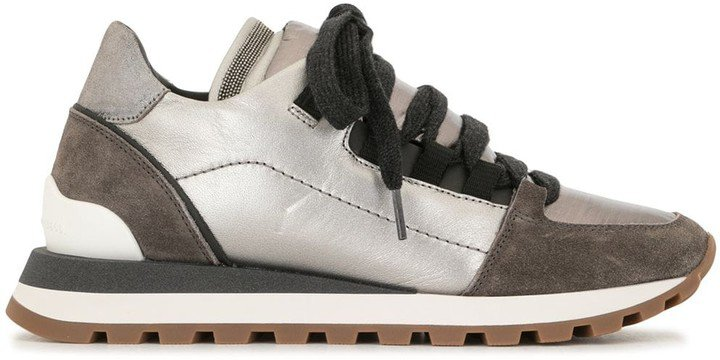 Metallic Panelled Lace-Up Trainers