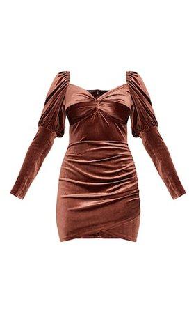 Chocolate Velvet Puff Sleeve Twist Detail Bodycon Dress - Long Sleeve Dresses - Long Sleeve - Shop By..   PrettyLittleThing USA
