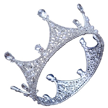 Luxury King Full Round Crown TiaraCrystal Wedding Bridal Party Pageant Prom Hairband cheap best - NewChic