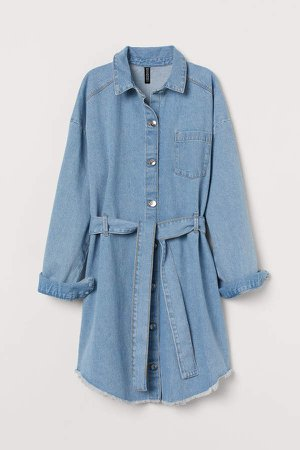 Denim Shirt Dress - Blue