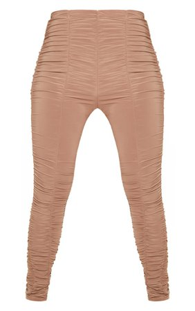 Camel Slinky Ruched Leggings | Trousers | PrettyLittleThing USA