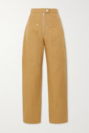 Phil Cotton And Linen-blend Tapered Pants - Camel