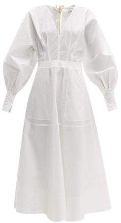 Mathews - Elsie Tie Back Cotton Blend Dress - Womens - White
