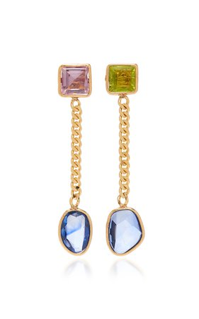 18K Gold Multi-Stone Earrings by Objet-a | Moda Operandi