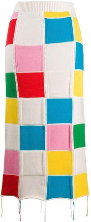 patchwork-knit pencil skirt