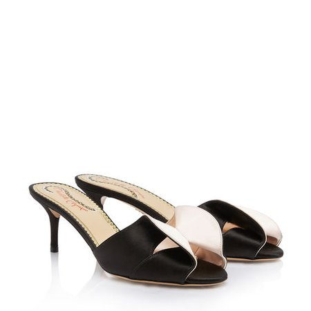 Drew in Black & Pale Pink - Sandals | Charlotte Olympia