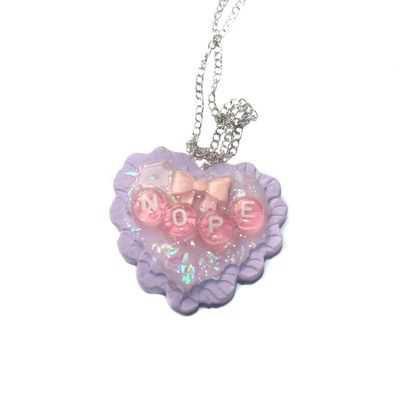 "Pastel Kawaii ""Nope"" Resin Heart Pendant Necklace"