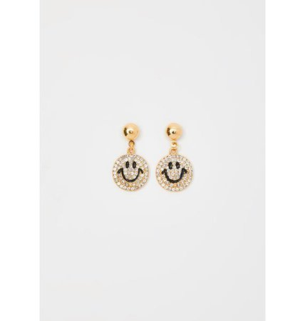 Rhinestone Smiley Drop Earrings Gold | Dolls Kill