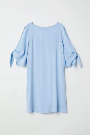Dress with Tie Sleeves - Blue