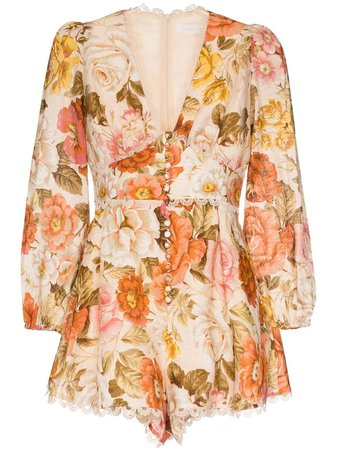 Zimmermann lace-trimmed floral-print Cotton Playsuit - Farfetch