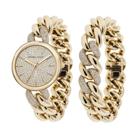 Kendall + Kylie - Kendall + Kylie: Gold and Crystal Chain Link Analog Watch and Bracelet Set 40mm - Walmart.com - Walmart.com