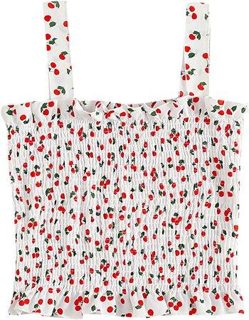 SheIn Women's Casual Frill Smocked Crop Cami Tank Shirred Strap Sleeveless Top