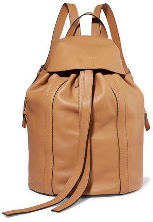 Small Leather Backpack - Beige