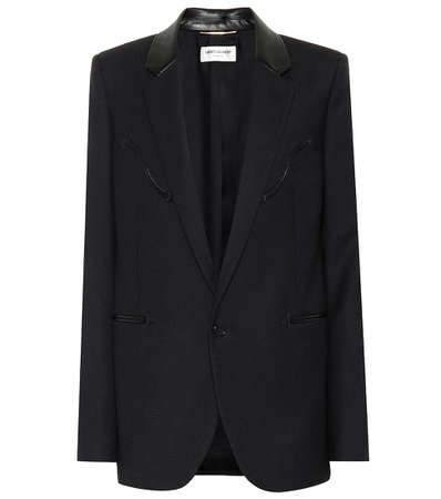 Leather-Trimmed Wool Blazer | Saint Laurent - mytheresa