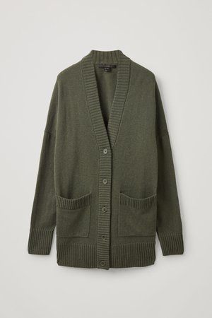 LAMBSWOOL OVERSIZED CARDIGAN - Olive green - Cardigans - COS GR