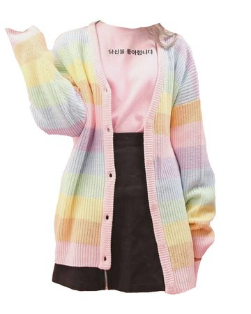 "-,' ᴘɴɢs ,'- on Instagram: ""Outfit🌈 . . . . . #outfitinspo #outfit #png #aesthetic #tumblr #nichememes #theme #rainbow #skirt #cardigan #black #pink #cute #pretty"""